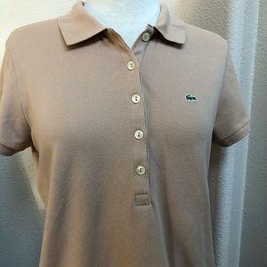 Women's Lacoste Polo Shirt Size 44 Tan Color